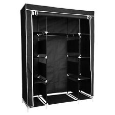 "50"" Triple Folding Cloth Fabric Wardrobe Closet Hanging Clothes Storage Black"