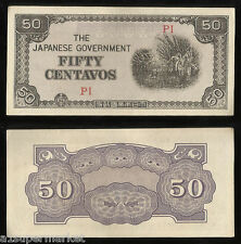 """RARE WWII 1942 """"JAPANESE OCCUPIED PHILIPPINES"""" BANK NOTE """"50 CENTAVOS"""" P# 105"""