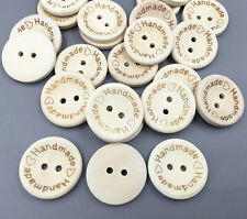 "20X  Wooden Buttons 2 Holes Sewing ""Handmade"" Lettering Scrapbooking Craft 20mm"