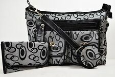 New Wome's Black 3-Piece Set Jacquard Satchel Tote Large Shoulder Handbag canvas