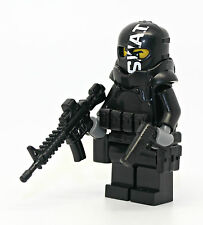 Swat Police Armored Assaulter Officer Minifigure made with real LEGO(R) parts
