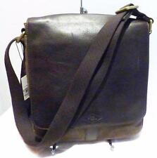 Fossil 'Trevor' Twill & Leather City Men's Messanger Bag, Dark Brown, Orig: 148