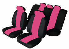 SPORTY Universal RENAULT MEGANE Car Seat Covers in BLACK & PINK