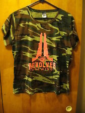 REVOLVER Brewing Co Granbury Texas Promo T Shirt Ladies LRG Camoflage Camo Pink