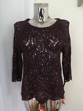ROMAN ORIGINALS AUBERGINE PURPLE SEQUIN JUMPER TOP SIZE 12 LADIES BNWT RP £25