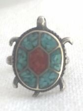 Vintage Sterling Silver Turtle Southwest Tribal Ring Turquoise Size 4.75 4.0g