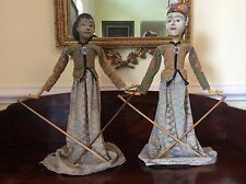 2 Vintage Dolls Rod Puppets Shadow Theater Indonesian Semi-refined Wayang Golek