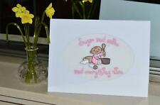 A New Machine Embroidered Hand Finished Birth Card for Girls - Sugar and Spice .