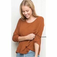 brandy melville orange dolman sleeve scoopneck Jazlene knit top NWT