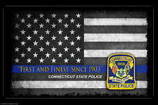 Connecticut State Police Thin Blue Line Flag Two 11x17 Posters