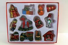 12 Piece Wooden Traditional Retro Style Xmas Toys Display Christmas Tree Decor