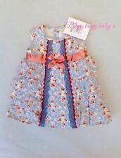 Baby girls espagnol robe bleu/corail - 24 mois 2 ans