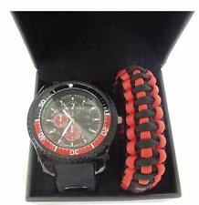 Men's Watch Set Black & Red 3 Dial Watch Silicone Band w/ Paracord Band Gift Set