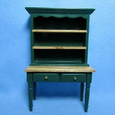 Dollhouse Miniature Country Oak & Green Hutch / Cupboard Cabinet  WF234-2