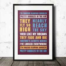 West Ham United football song lyrics poster forever blowing bubbles