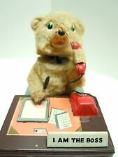 1958 Linemar Tin Battery Op.I Am The Boss Office Bear . A+. Works. 100% Original