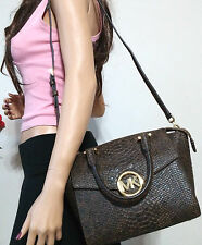 NWT MICHAEL KORS BROWN PYTHON EMBOSSED LEATHER CROSSBODY STRAP HAND BAG TOTE HOT