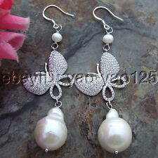 S101913 15x20mm White Keshi Pearl Silver Hook earrings cz Connector