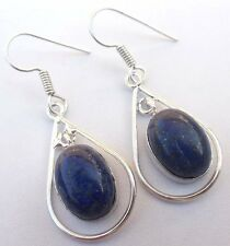 FINE JEWELRY LAPIS GEMSTONE 925 STERLING SILVER!!! PLATED EARRING