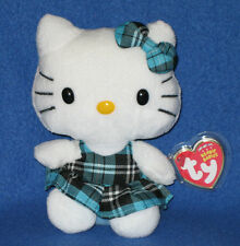 TY HELLO KITTY AQUA TARTAN BEANIE BABY - MINT with MINT TAGS - NEW