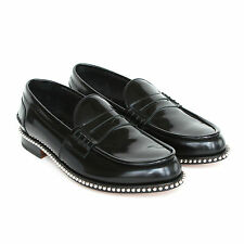 LOUIS LEEMAN $900 metal studded black leather penny loafers shoes 39-IT/6-US NEW