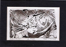 """""""A FISH"""" by Ruth Freeman MONO PRINT 5"""" X 7"""" WITH INCLUDED MAT"""