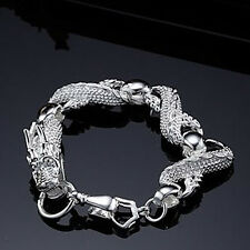 "European 925Sterling Silver White China Dragon Strong Chains Bracelet 7.5"" H036"