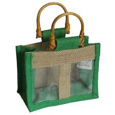 2 x petit deux pot jute sac cadeau avec poignées et fenêtre pour toute occasion