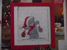 ADORABLE TATTY TEDDY BEAR WITH CHRISTMAS BAUBLES CROSS STITCH CHART