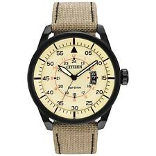 Citizen Eco-Drive Men's AW1368-11X Beige Dial Khaki Nylon Strap Sport Watch