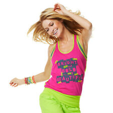 Zumba Cut Me Maybe Bubble Top Pink / Green NEW  XS/S