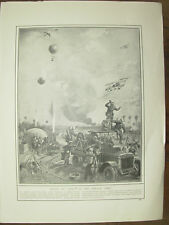 VINTAGE 1914 WWI MAGAZINE PRINT - FRENCH BALLOON UNDER FIRE FROM GERMAN PLANES