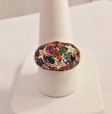 STERLING SILVER MULTI - GEM & DIAMOND DOME RING. SIZE 9