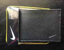 NEW NIKE GOLF MENS BIFOLD PASSCASE PEBBLED LEATHER BLACK WALLET