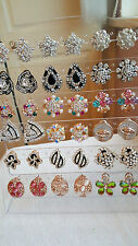 Joblot of 18 Pairs Mixed Design Diamante stud Earrings - NEW Wholesale lot F