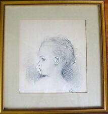 ORIGINAL ANTIQUE DRAWING PAINTING BABY CHILD GIRL FRAMED 1935 CHARCOAL