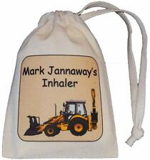 Personalised - Digger Asthma Inhaler bag - TINY cotton drawstring bag - EMPTY