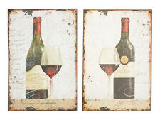 Shabby Vintage Chic Metal Wall Plaque Signs - Vino Wine Set of 2