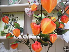 Bunch of 4 Artificial Flowers Orange Chinese Lanterns Set of 4 Stems Physalis