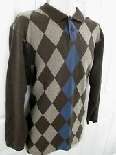 Haggar Golf Sweater Brown Argyle Men's Large Stain Resistant Cotton Blend