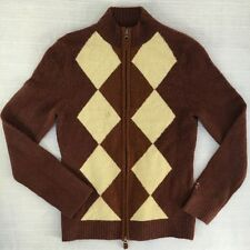HORNY TOAD Mens S Small Argyle Wool Blend Full Zippered Sweater Cardigan