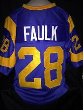 Marshall Faulk unsigned custom sewn blue/yellow jersey adult 2xlarge
