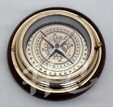 "Antique Brass Magnifying/Navigational/Magnetic 6"" Sailing Ship/Boat Desk Compass"