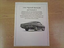 1967 Plymouth Barracuda factory cost/dealer sticker prices for car/options $ 67