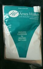COMPRESSION HOSERY, Knee Highs, Beige, 20/30 mmhg Sz.XL, Ames Walker,  2 Pairs