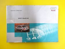A4 A 4 Sedan 01 2001 Audi Owners Owner's Manual Engines 4 cyl & 6 cyl OEM