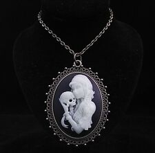 "24"" Glow in Dark Sugar Skull Lady Cameo Pendant Necklace"