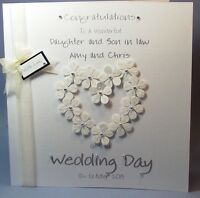 PERSONALISED HANDMADE FLOWER-HEART CONGRATS  WEDDING DAY CARD  . large size  NEW