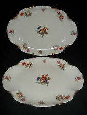 "2pcs-11 1/4""x8"" Oval Serving Platters Made by Warwick China Pattern""WAR10"" USA"