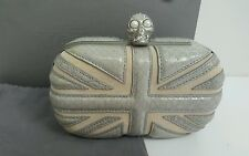 Bnwb ALEXANDER McQUEEN Union Jack Swarovski Skull box/clutch/bag.snakeskin.£1965